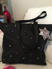 Bath And Body Works Black+silver   RibbonTote Beads Bag 35 Retail ! Very Nice