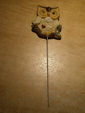 Collectible Kitchen Magnet & Plant Stick Combo - Owl Sitting on a Branch - Heart