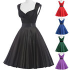 BLACK RED PARTY VINTAGE SWING DRESS 1950's 60S EVENING PARTY DRESSES RETRO STYLE