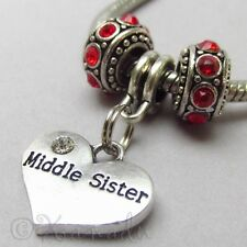 Middle Sister European Charm Pendant n Birthstone Beads For Large Hole Bracelets