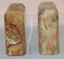 """Vintage Pair Of Art Deco Marble Bookends Heavy 5 3/4"""" x 4 1/4"""" x 2 1/2"""" Beige"""