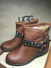 UGG Australia Darling Harness Leather Ankle Boots  Size 5.5 Brown NEW NIB