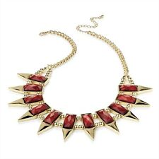 GOLD TONE CASCADING DEEP RED MARBLED FACETED SLAB BEAD CHOKER STATEMENT NECKLACE
