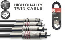 Stagg 60CM/2FT Twin Cable plug RCA to RCA (STC060C) Phono