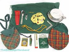 1950s-60s Vintage GIRL SCOUTS LOT! Mess Kit Utensils Compass Knives Sewing Pen++