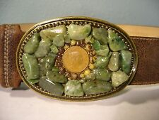 Green Stones Around 1972 Mexican Coin Belt Buckle On Soft Brown Leather Belt