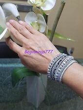 Beautiful and Elegance Design.  Gray Leather 5 Wrap Bracelet Handmade