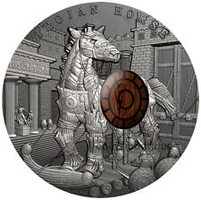 TROJAN HORSE Ancient Myths 2oz antiqued high-relief silver coin 2016 Free Watch