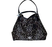 COACH F33605 LG EDIE OCELOT ANIMAL PRINT HAIRCALF SHOULDER BAG PURSE NWT $1200