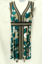 MAX AND CLEO Womens Black White Teal Green V-Neck Stretch Jersey Sun Dress S
