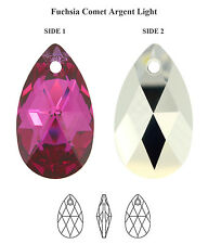 Genuine SWAROVSKI 6106 Pear Pendant Fuchsia Comet Argent Light 22mm