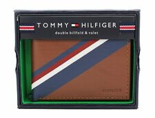 New Tommy Hilfiger Men's Honey Tan Leather Double Billfold Credit Card Wallet