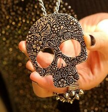 Free Fashion jewelry Skull Bronze Retro long Pendant sweater Necklace N23