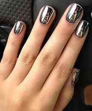 Silver Chrome Press On Nails Artificial Fake Full Cover Metallic Plastic Polish