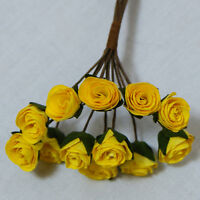 PACK 10 OPEN YELLOW ROSES FOR CARDS AND CRAFTS