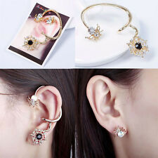 Fashion Gold Plated Spider Earring Cuff Asymmetrical Ear Stud Diamond Jewelry aa