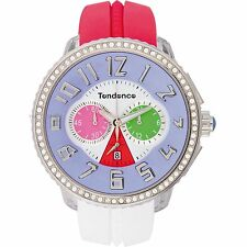 Tendence Crazy Watch Red White Rubber Strap Multicolor Dial Chrono TG460406