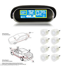 WHITE 8 Parking Sensors LED Display Car Reverse Radar Collision Avoidance Syste