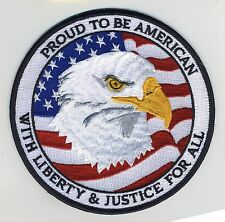 """PROUD TO BE AMERICAN EMBROIDERED PATCH Eagle Flag NEW 5"""" Iron On Emblem Badge US"""