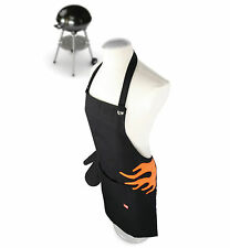 Vacu Vin BBQ & Kitchen Apron with Oven Gloves / Mitts - Flame Design