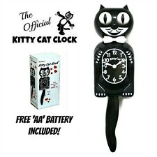 "BLACK KITTY CAT CLOCK (3/4 Size) 12.75"" Free Battery MADE IN USA Kit Kat NEW"