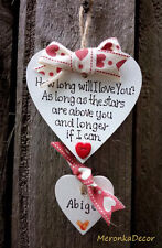 HANDMADE PERSONALISED Valentines ANNIVERSARY LOVE HEART-PLAQUE- FOR HER HIM-7cm
