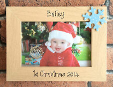 Handcrafted Personalised Baby 1st Christmas Photo Frame Gift Blue Pink Red