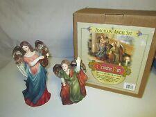 1999 GRANDEUR NOEL CHRISTMAS NATIVITY ANGEL DUO PORCELAIN FIGURINES