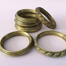 "ANTIQUE VINTAGE HOLLOW BRASS CURTAIN RINGS x6 Assortment 2"" Internal Diameter"