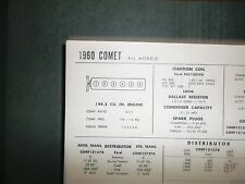 1960 Mercury Comet Series 144.3 CI L6 SUN Tune Up Chart Excellent Condition!