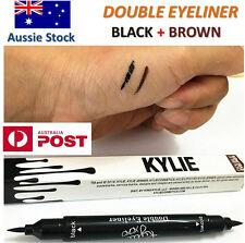 Kylie Waterproof Black Brown 2 in 1 Liquid Pencil Double Eyeliner - OZ STOCK