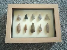 Neolithic Arrowheads in 3D Picture Frame, Authentic Artifacts 4000BC (0799)