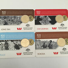 2016 AUST ANZAC VIC CROSS 1st GOLD 25c SET LONG TAN,PEACE,KOKODA,OUR LEGENDS