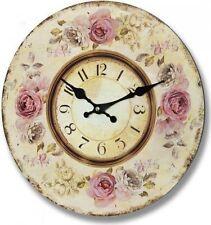 Elegante Orologio da Parete Rotondo Vintage Shabby Chic Rosa Antico Rose 34cm di diametro