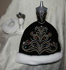 BARBIE 2006 BOB MACKIE HOLIDAY GOWN DRESS BLACK STARS FAUX FUR STOLE FOR DOLL