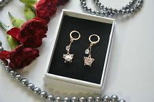 Gota de estrellas rosa oro y plata de novia Elementos Swarovski Cristal Pendientes de gancho