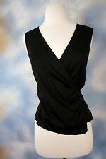 NEW THEORY crepe black faux wrap sleeveless career blouse top shirt S