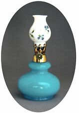 Unlisted Antique Very Small Blue Opaline Mini Oil Lamp w/ Floral Decorated Shade