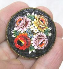 Vintage Jewelry Mosaic Brooch Made in Italy Floral Motif Gorgeous!