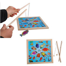 Kids Magnetic Wooden Pieces Fishing Game With Pole+Board Jigsaw Puzzle Toy Gift