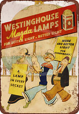 Popeye for Westinghouse Lamps Reproduction Metal Sign tin 8 x 12