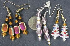 Lot of 3 Vintage 1960's Colored Faceted Crystal Glass Beads Pierced Earrings
