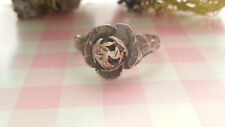 Beautiful Vintage Solid Rose Ring Real 925 Sterling Silver *Size 6 *N63