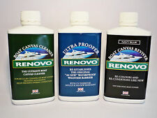 Renovo Boat/Marine Canvas Cleaner, NAVY Reviver, Ultra Proofer Kit 3 x 500ml