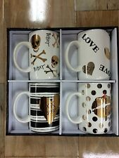 BETSEY JOHNSON SET OF 4 MUGS / CUPS ADORABLE! WHITE BLACK GOLD NEW IN BOX