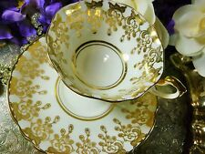 PARAGON  TEA CUP AND SAUCER  GILDED BUDS ON WHITE SIMPLY ELEGANT DUO