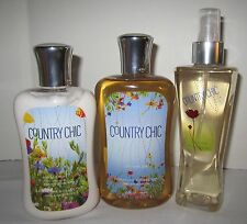 Bath & and Body Works Shower Gel Lotion Fragrance Mist Country Chic Set 3