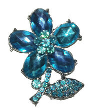 New blue silver flower Rhinestone Crystal Pin Brooch wedding party #16