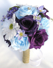 17 pc package Wedding Bouquets Bridal Silk Flower PURPLE Light BLUE DAISY Rustic