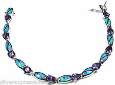 Amethyst & Blue Fire Opal Inlay 925 Sterling Silver Link Tennis Bracelet 7''